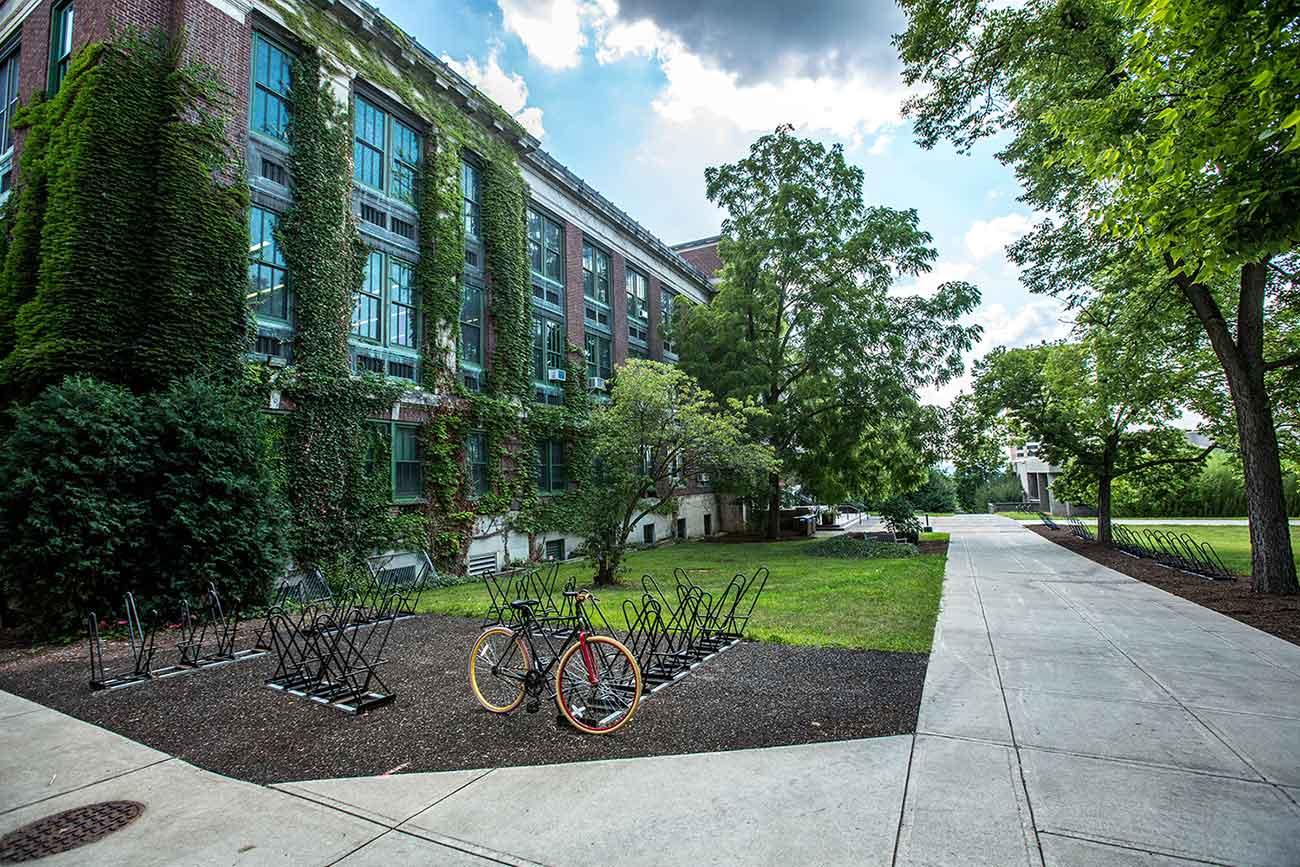 school open with bike rack outside